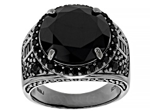 Black Spinel Black Rhodium Over Sterling Silver Ring 10.04ctw