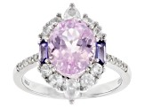 Pink kunzite rhodium over sterling silver ring 4.18ctw