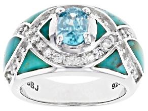 Blue Zircon Rhodium Over Sterling Silver Ring 1.75ctw
