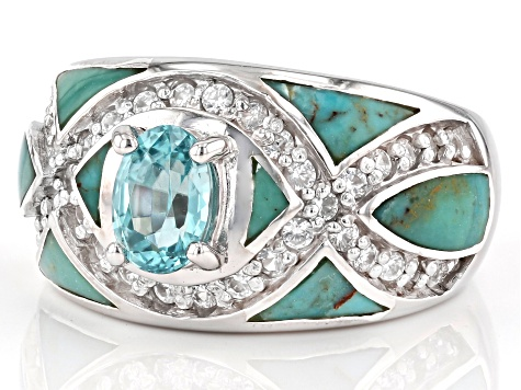 Blue Zircon Rhodium Over Sterling Silver Ring 1.75ctw
