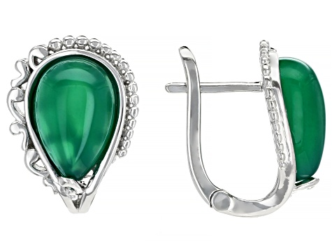 Green Onyx Rhodium Over Silver Earrings
