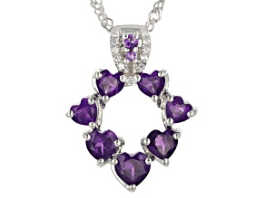 African Amethyst With White Zircon Rhodium Pendant with Chain 1.85ctw