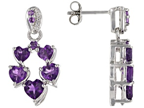 Purple African Amethyst With White Zircon Rhodium Over Sterling Silver Heart Earrings 2.87ctw