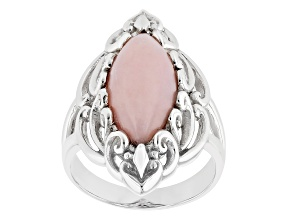 Pink Opal Rhodium Over Silver Ring