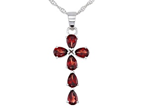 Red Garnet Rhodium Over Sterling Silver Pendant With Chain 3.06ctw