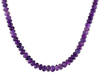 Picture of Purple Amethyst Rhodium Over Sterling Silver Graduated Necklace
