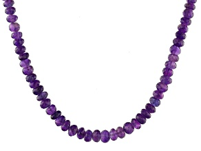 Purple Amethyst Rhodium Over Sterling Silver Graduated Necklace