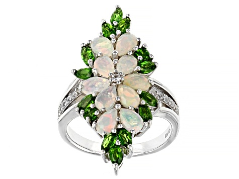 Multicolor Ethiopian Opal Rhodium Over Silver Ring 2.17ctw