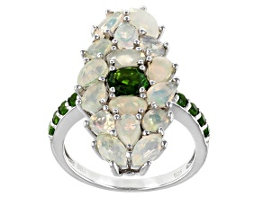 Multicolor Ethiopian Opal Rhodium Over Silver Ring 2.34ctw