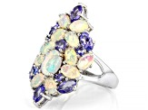 Multi-Color Ethiopian Opal Rhodium Over Sterling Silver Ring 3.00ctw