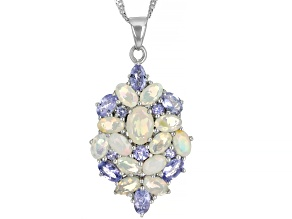 Multi-Color Ethiopian Opal Rhodium Over Silver Pendant with Chain 3.00ctw