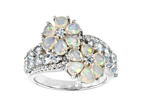 Multi-color Ethiopian Opal Rhodium Over Silver Ring 2.23ctw