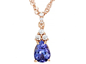 Blue Tanzanite 18k Rose Gold Over Sterling Silver Pendant with Chain 1.15ctw