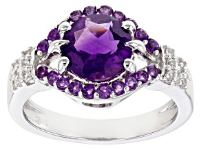 Purple Amethyst Rhodium Over Sterling Silver Ring 1.92ctw