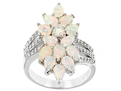 Multi-color Opal  Rhodium Over Sterling Silver Ring 1.81ctw