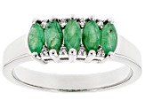 Green Emerald Rhodium Over Silver Ring .98ctw