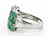 Green Emerald Rhodium Over Silver Ring 2.04ctw