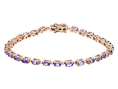 Tanzanite 18K Rose Gold Over Sterling Silver Tennis Bracelet 5.48ctw