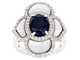 Blue Sapphire Rhodium Over Sterling Silver Ring 4.04ctw