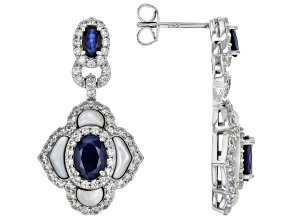 Blue Sapphire Rhodium Over Silver Earrings 4.00ctw
