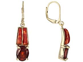 Red hessonite garnet 18k yellow gold over sterling silver dangle earrings 5.35ctw