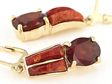 Red hessonite garnet 18k yellow gold over sterling silver dangle earrings 5.35ctw