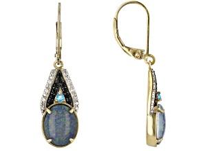 Multicolor Opal Triplet 18k Yellow Gold Over Silver Dangle Earrings 3.34ctw