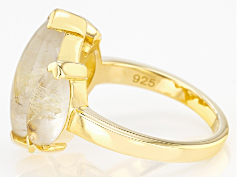 Golden Rutilated Quartz 18k Yellow Gold Over Silver 3-Stone Ring 6.48ctw