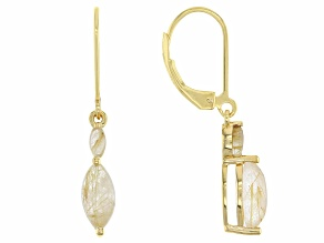 Golden Rutilated Quartz 18k Yellow Gold Over Silver Dangle Earrings