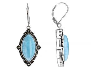 Blue larimar Rhodium Over Silver Earrings