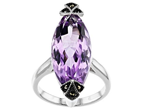 Purple Amethyst Rhodium Over Silver Ring 9.80ct