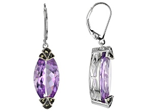 Lavender Amethyst Rhodium Over Silver Earrings 13.60ctw