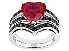 Red Lab Created Ruby Rhodium Over Silver Ring 3.48ctw