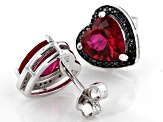 Red Lab Created Ruby Rhodium Over Silver Earrings 3.94ctw
