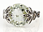 Green prasiolite with Rhodium Over Sterling  Silver Ring 6.89ctw
