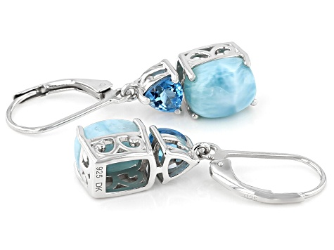 Blue Larimar Rhodium Over Sterling Silver Dangle Earrings 1.11ctw