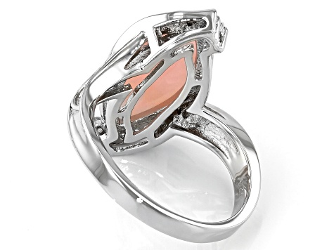 Pink Opal Rhodium Over Sterling Silver Ring .18ctw