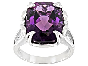 Purple Amethyst Rhodium Over Silver Ring 7.92ct