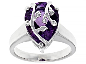 Purple Amethyst Rhodium Over Silver Ring 4.67ct