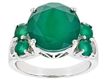Picture of Green Onyx Rhodium Over Sterling Silver Ring