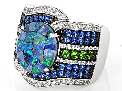 Multi-color Australian Mosaic Opal Triplet Rhodium Over Silver Ring 1.27ctw