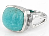Blue Amazonite Rhodium Over Sterling Silver Solitaire Ring