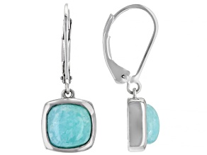 Blue Amazonite Rhodium Over Silver Earrings