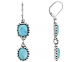 Blue Larimar Rhodium Over Sterling silver Dangle earrings