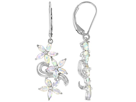 Multi-Color Ethiopian Opal Rhodium Over Silver Earrings 1.21ctw