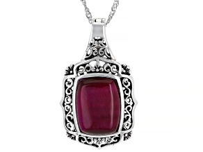 Pink Tiger's Eye Rhodium Over Silver Enhancer Pendant With Chain