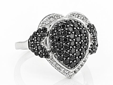 Black spinel Rhodium Over Silver Ring 1.25ctw