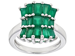 Green Onyx Rhodium Over Sterling Silver Ring 2.28ctw