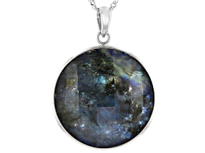 Gray Labradorite Rhodium Over Silver Reversible Pendant with Chain