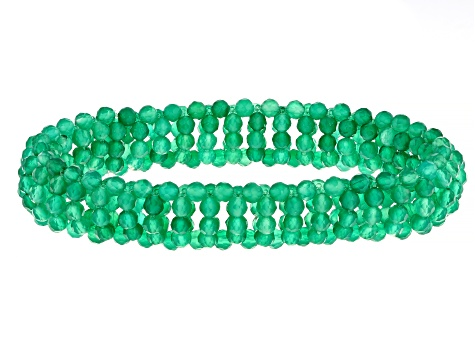 Green Onyx Stretch Bracelet 65.00ctw